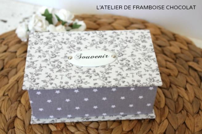BOITE CARTONNAGE SOUVENIR L'ATELIER DE FRAMBOISE CHOCOLAT